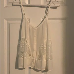 White sheer and lace tank top